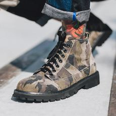 Men's Martin boots men's high help camouflage leather men's shoes casual shoes men's Korean version of the 2018 new boots men's boots