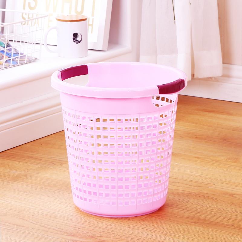 2件9折圆形镂空垃圾桶家用小号无盖厨房厕所纸篓办公室卫生间放纸