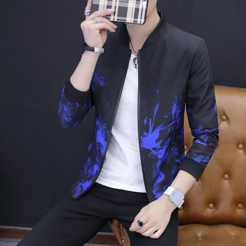 【反季清仓】外套新款男装夹克韩版修身休闲褂子立领潮流青年上衣