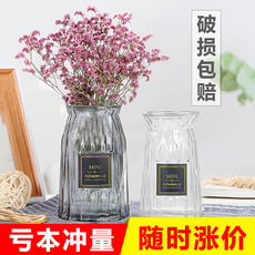Transparent glass vase dried flower arrangement water culture glass bottle living room creative small fresh decoration flower arrangement decorative flower