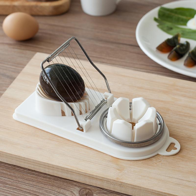 家用不锈钢多功能切蛋器厨房鸡蛋切片松花蛋皮蛋分割器花式切瓣器