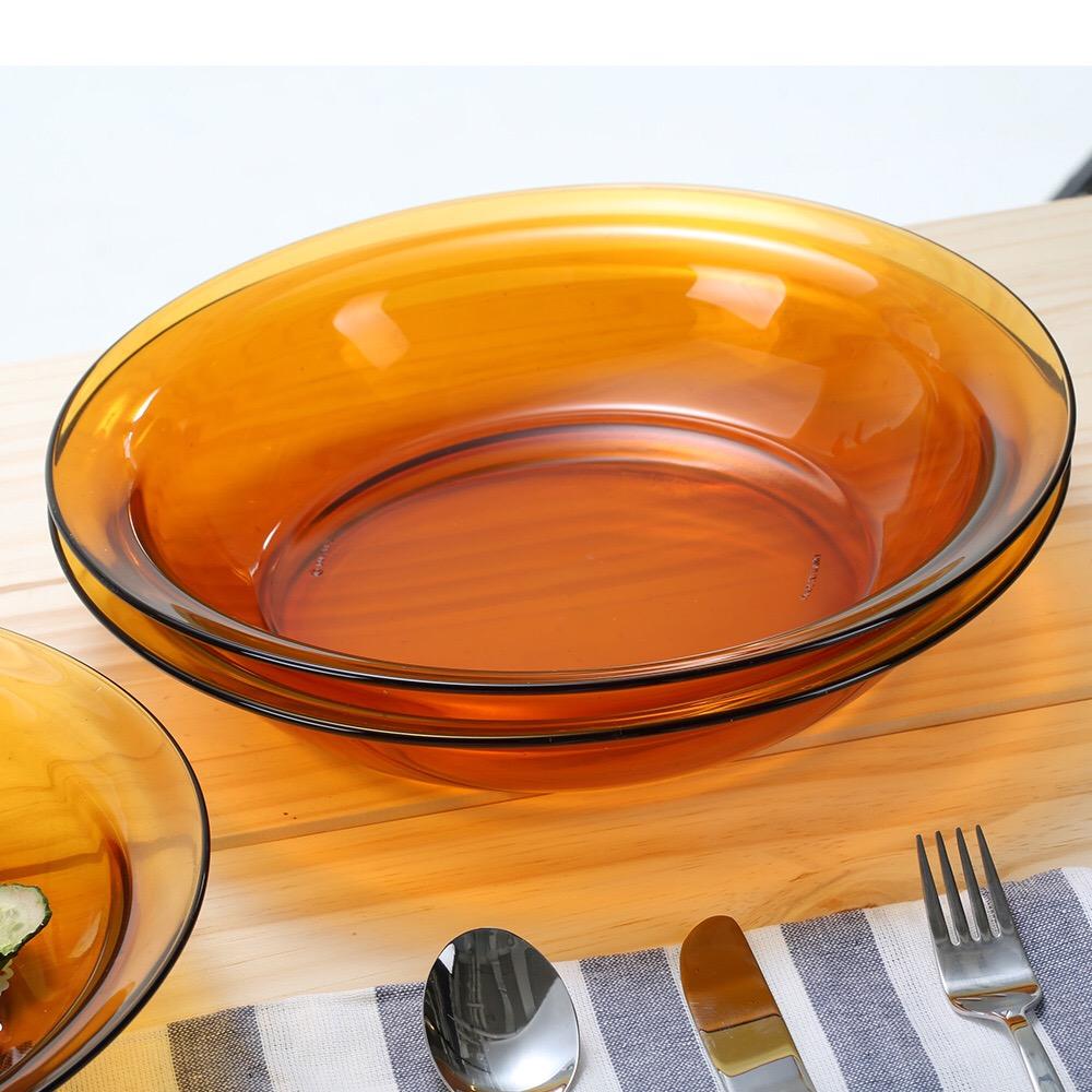 法国进口 鱼盘28cm深盘特大盘子2只套装沙拉盘装钢化玻璃易清洗