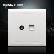 86 type wall switch socket panel wired closed circuit network cable broadband TV computer socket ivory white