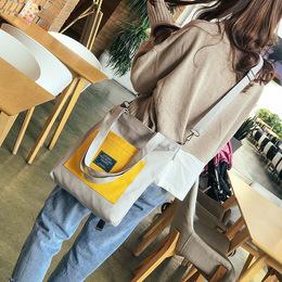 新款百搭学生撞色单肩斜跨可拆卸女包帆布包韩版双兜购物袋包包女