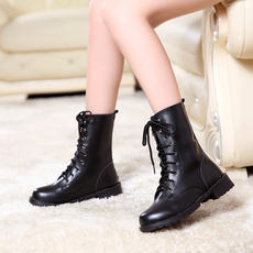 Autumn and winter large size boots low heel boots Martin boots British wind with women's military boots flat-bottomed locomotive boots