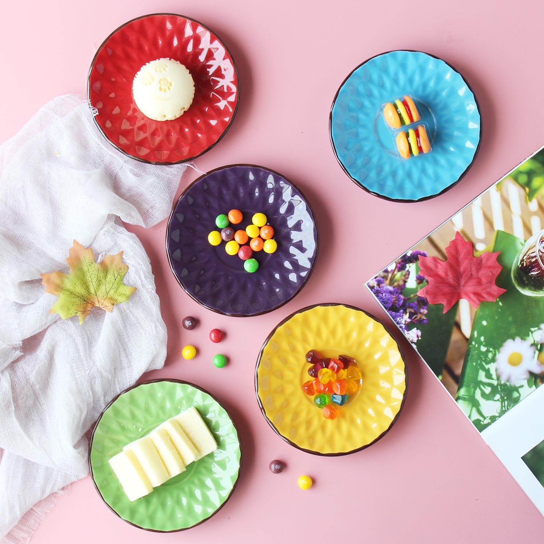 彩色陶瓷家用5寸吐骨碟垃圾盘 创意欧式点心蛋糕碟个性茶包碟杯垫