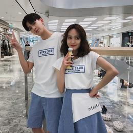 qlz情侣装夏装2018新款韩版修身短袖T恤女裙子夏季半袖学生套装潮