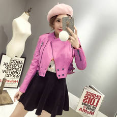 2017 spring and autumn new ultra-short leather women's locomotive pu small jacket Korean Slim thin collar leather jacket