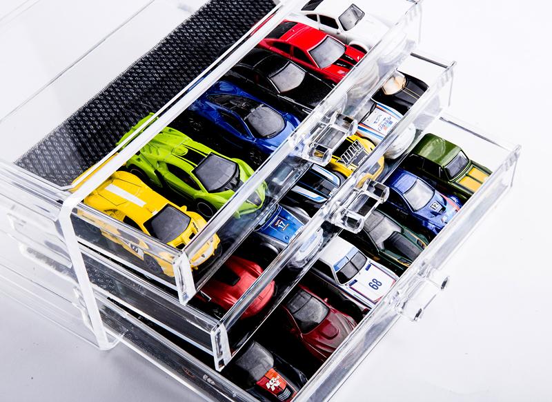 风火轮收纳盒桌面抽屉式亚克力合金车模透明展示柜停车场三层