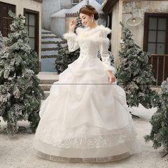 2017新款冬天新娘结婚一字肩婚纱齐地冬季保暖长袖加厚秋冬款