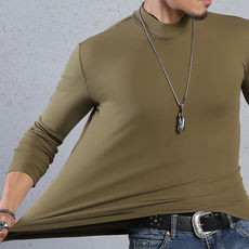 Men's autumn cotton half-high collar bottoming shirt long-sleeved slim autumn clothing simple solid color elastic large size t-shirt male tide