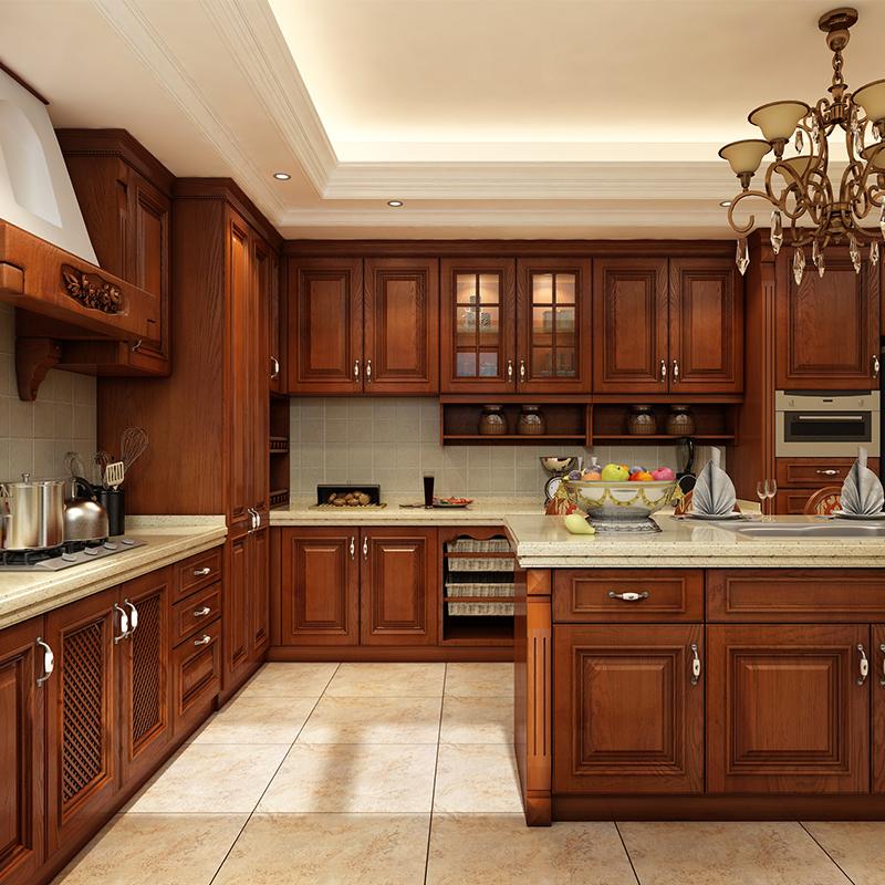 南京橱柜定做整体欧式红橡木实木厨柜定制石英石台面厨房柜订做图片