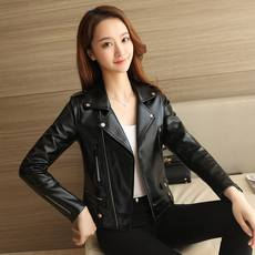 2018 spring and autumn new leather women short Korean version of the slim slimming locomotive pu leather jacket black ladies jacket