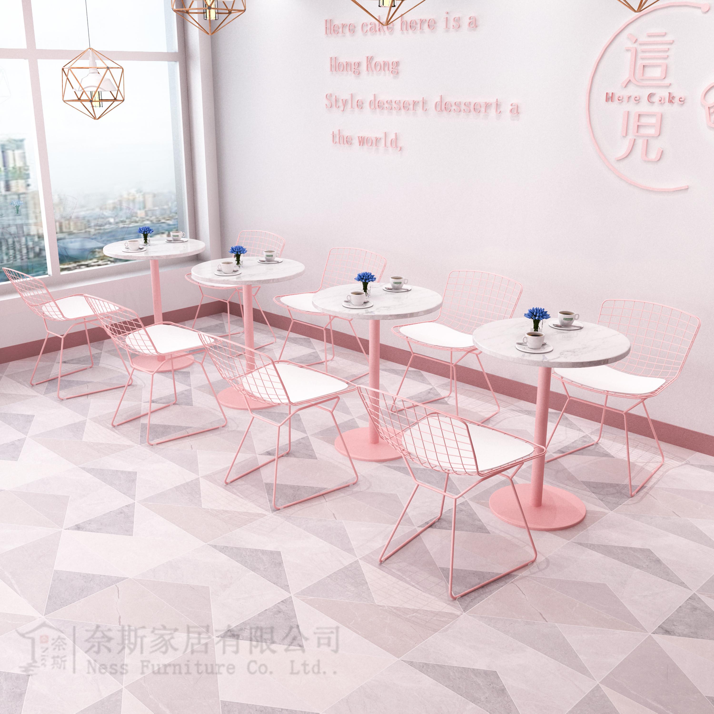 简约奶茶店桌椅烘焙甜品店咖啡厅桌椅组合ins清新网红大理石餐桌