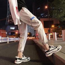 Tide brand casual ins overalls men's Korean version of the trend loose straight pants 9 nine pants versatile student beam feet pants