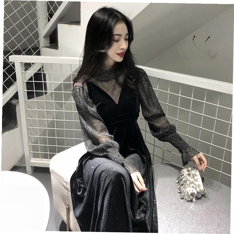 复古温柔风吊带ins超火裙子春装2018新款女chic两件套连衣裙韩版
