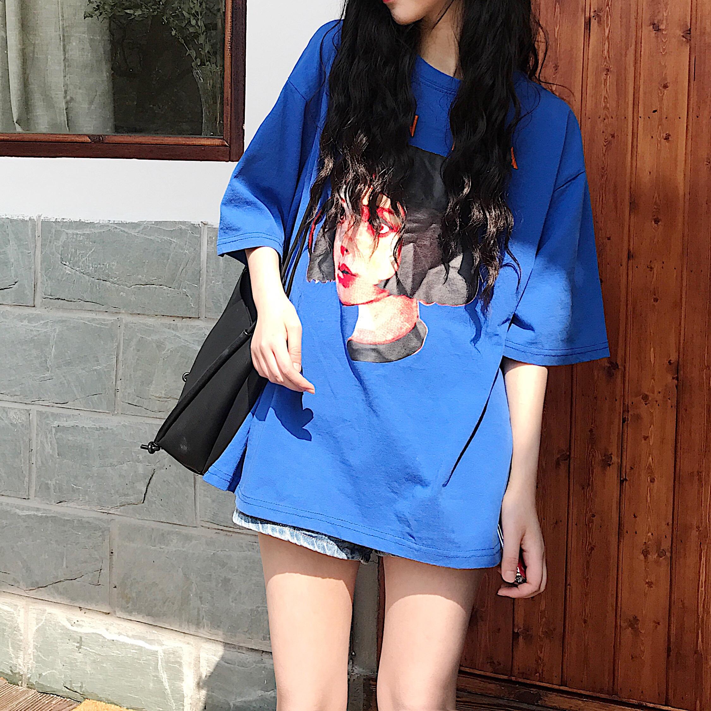 夏装2018新款复古网红同款上衣韩版宽松中长款巨袖绣花短袖t恤女