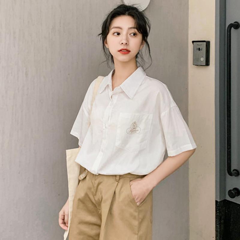 白色衬衫女2019年新款衬衣韩版短袖设计感宽松小众夏欧货时尚洋气
