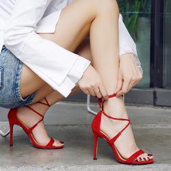 系带高跟凉鞋女一字带红色韩版新款2018性感交叉绑带露趾细跟女鞋