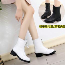 春秋季真皮女靴圆头白色粗跟中筒靴中跟休闲单靴子冬季加绒棉靴