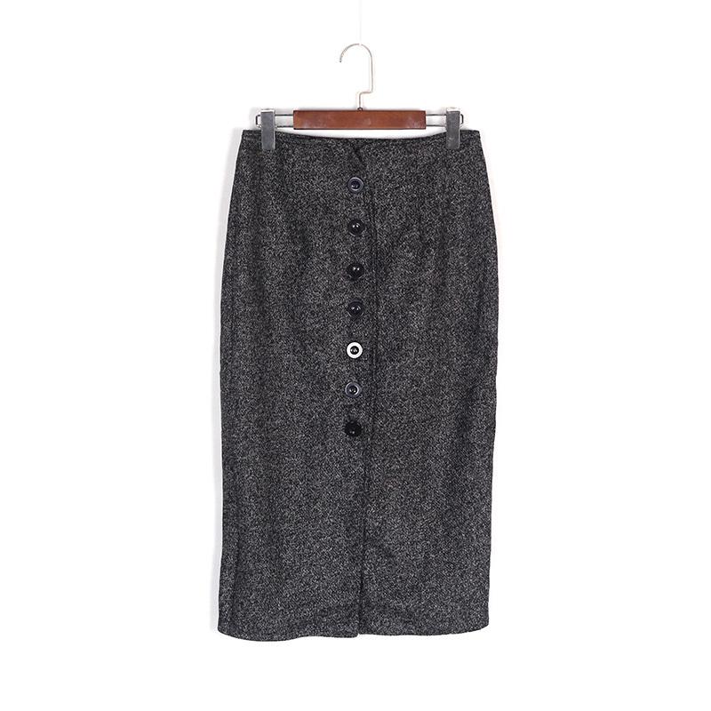 秋冬新款修身显瘦高腰毛呢一步裙包臀长裙开叉半身中长款加厚冬裙