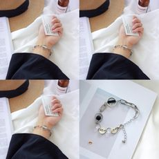Temperament Korean simple student personality marble ball round circle tide female with geometric bracelet jewelry female