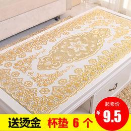 包邮烫金桌布PVC防烫免洗茶几垫现代简约蕾丝餐桌布镂空欧式盘垫