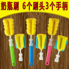 6 head 3 handle baby sponge bottle brush long handle cup brush bottle brush newborn baby bottle cleaning brush