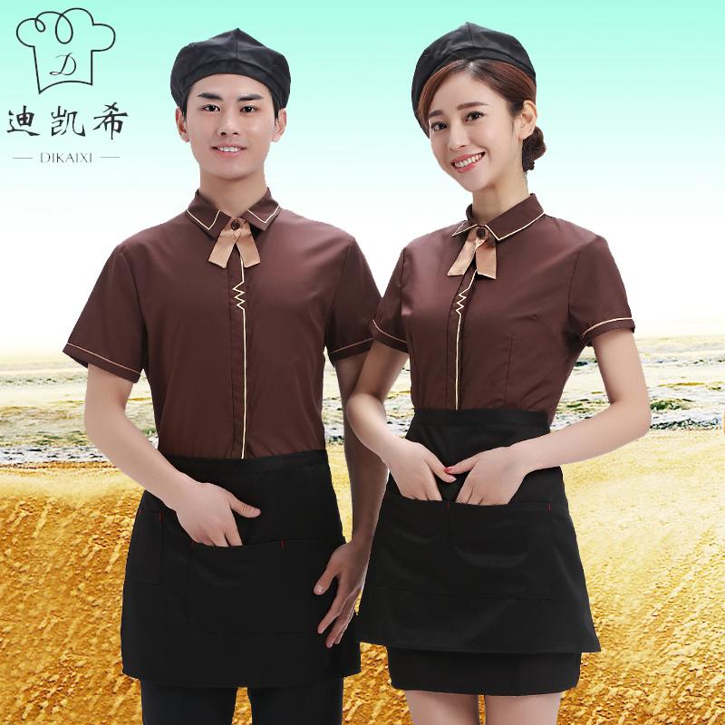 服务员工作服女士衬衣夏季薄款透气工衣短袖西餐厅火锅店夏装餐厅