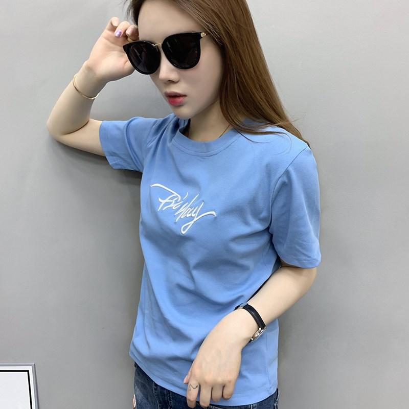 欧洲站新款洋气夏装女装2019欧货潮蓝色t恤女短袖宽松潮牌体恤衫