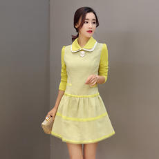 Cool autumn autumn new doll collar plaid long-sleeved dress hit color stitching wild A word skirt 2213