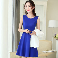 Cool Spring New Fashion Slim Solid Color Sleeveless Dress 6680ZX-1