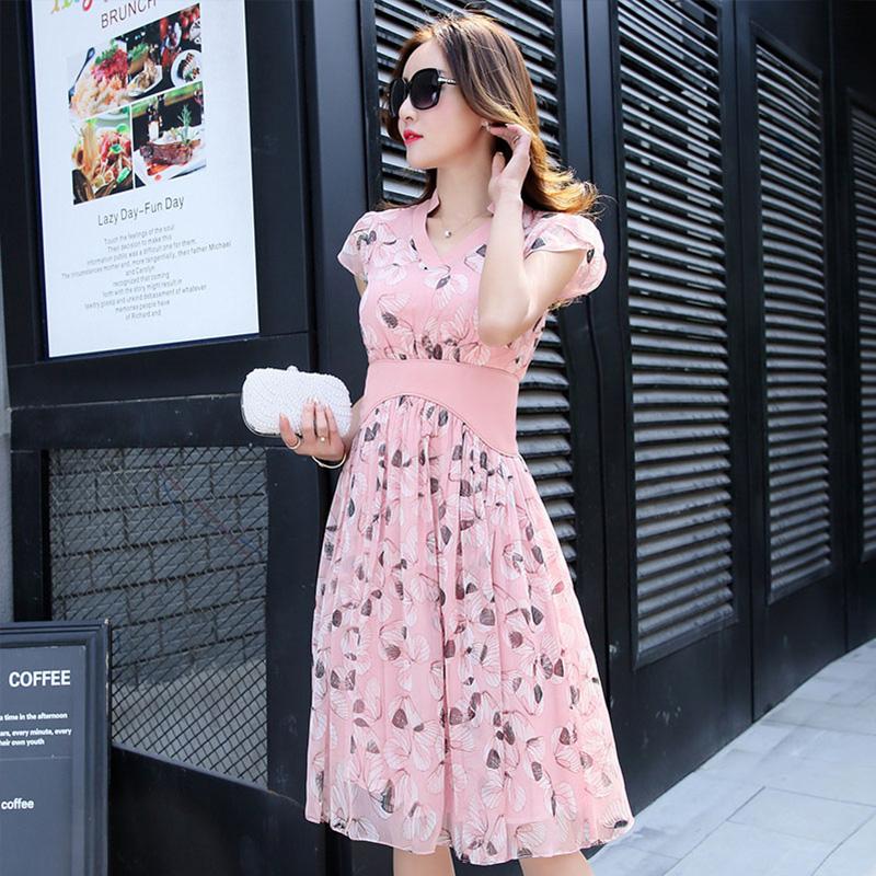 酷伽YH系列时尚气质短袖V领收腰连衣裙裙5226