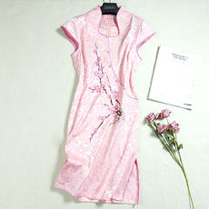 Cool gamma new fashion short sleeve elegant slim slimming embroidered classical temperament cheongsam dress 7068