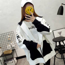 Coat female fall and winter clothes baseball uniform Korean students large size loose cardigan shirt Harajuku style hooded solid sweater