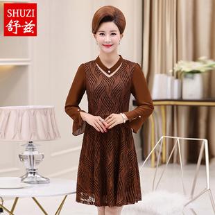 舒兹妈妈秋装长袖连衣裙中长款中老年女长裙子40-50岁上衣打底衫