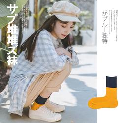 春秋堆堆袜女韩国个性百搭薄拼色小白鞋长袜子女中筒袜韩版学院风