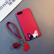 Red bulldog iphone6s plus phone shell Apple 8 silicone 7 lanyard New Year dog X cartoon 6 Hannv