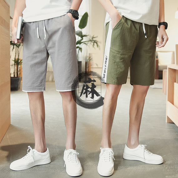 Shorts men's five pants summer Korean trend leisure harbor wind loose beach pants men summer pants linen pants