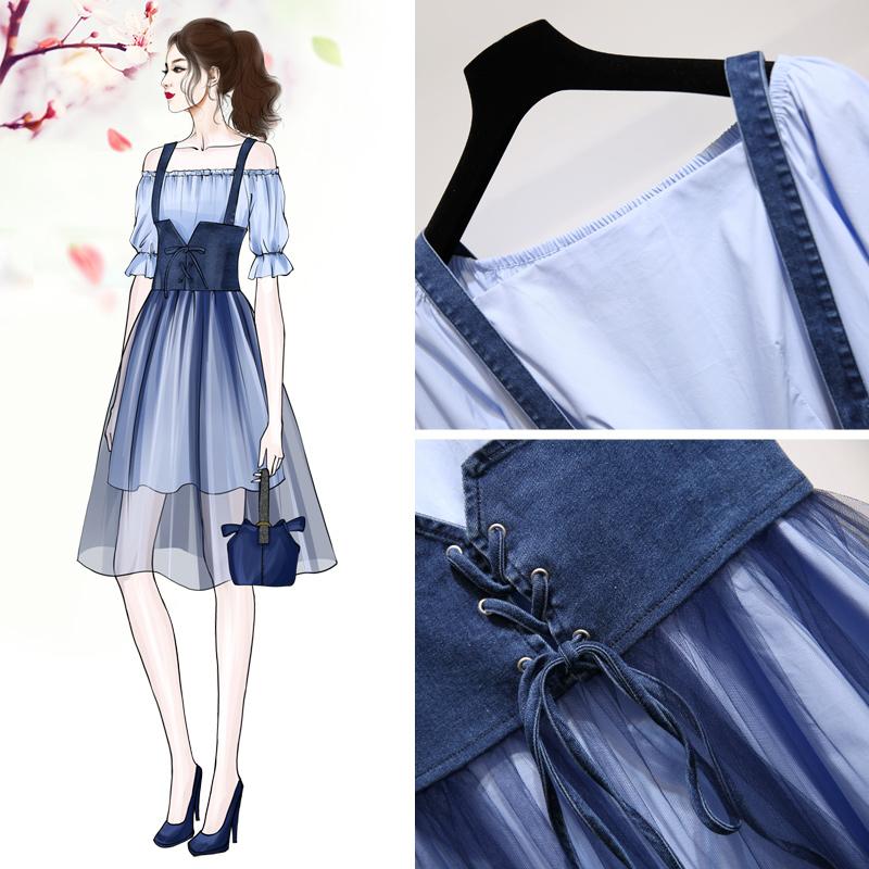 夏天背带裙两件套2019春装女款网纱流行裙子很仙的法国小众连衣裙