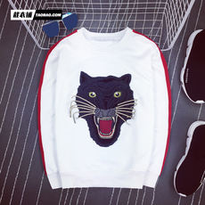 2017 autumn new European and American tide brand embroidery leopard head patch sweater men's Korean version of the slim round neck sweater jacket