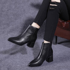 2018 autumn and winter leather boots women's shoes with women's boots pointed Martin boots black bare boots women's thick with cotton shoes
