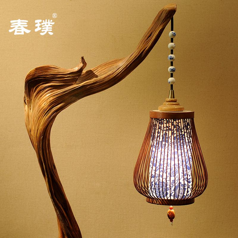 天然崖柏工艺灯 立式灯  根雕 隐藏线 艺术  古典 落地灯 仿古灯