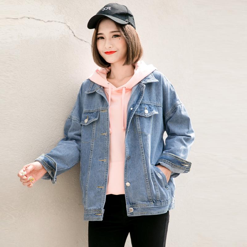 孜索2017秋季新款牛仔外套女韩版学生夹克宽松百搭外衣bf风牛仔衣图片