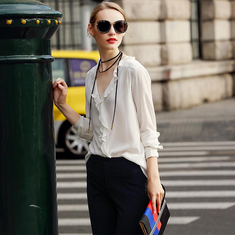 真丝衬衣女2017新款桑蚕丝重磅双绉长袖高端欧美时尚修身白色上衣