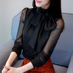 洋气小衫女春秋2019新款韩版修身内搭打底衫女长袖蝴蝶结雪纺上衣
