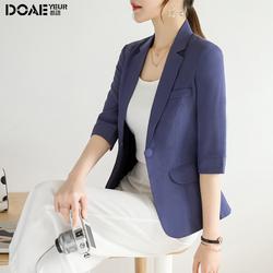 西装外套女夏季薄款韩版修身一粒扣七分袖短款休闲百搭小西服上衣