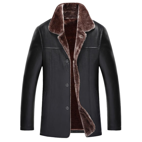 Winter dad wear middle-aged 40-50 years old leather jacket middle-aged men's autumn and winter wear plus velvet thick leather jacket