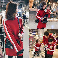 LUSON parent-child loaded new year red mother and daughter sweater family three four-knit sweater family home winter