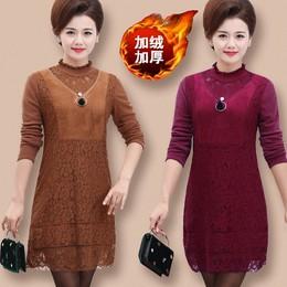优质冬季女士中老年加绒加厚中长款保暖内衣妈妈装蕾丝保暖打底裙